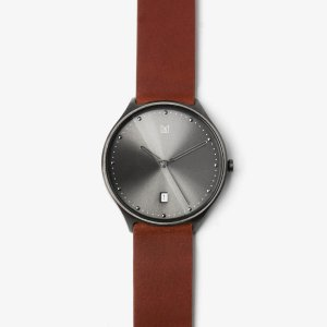 uick release brown leather strap black buckle-watch