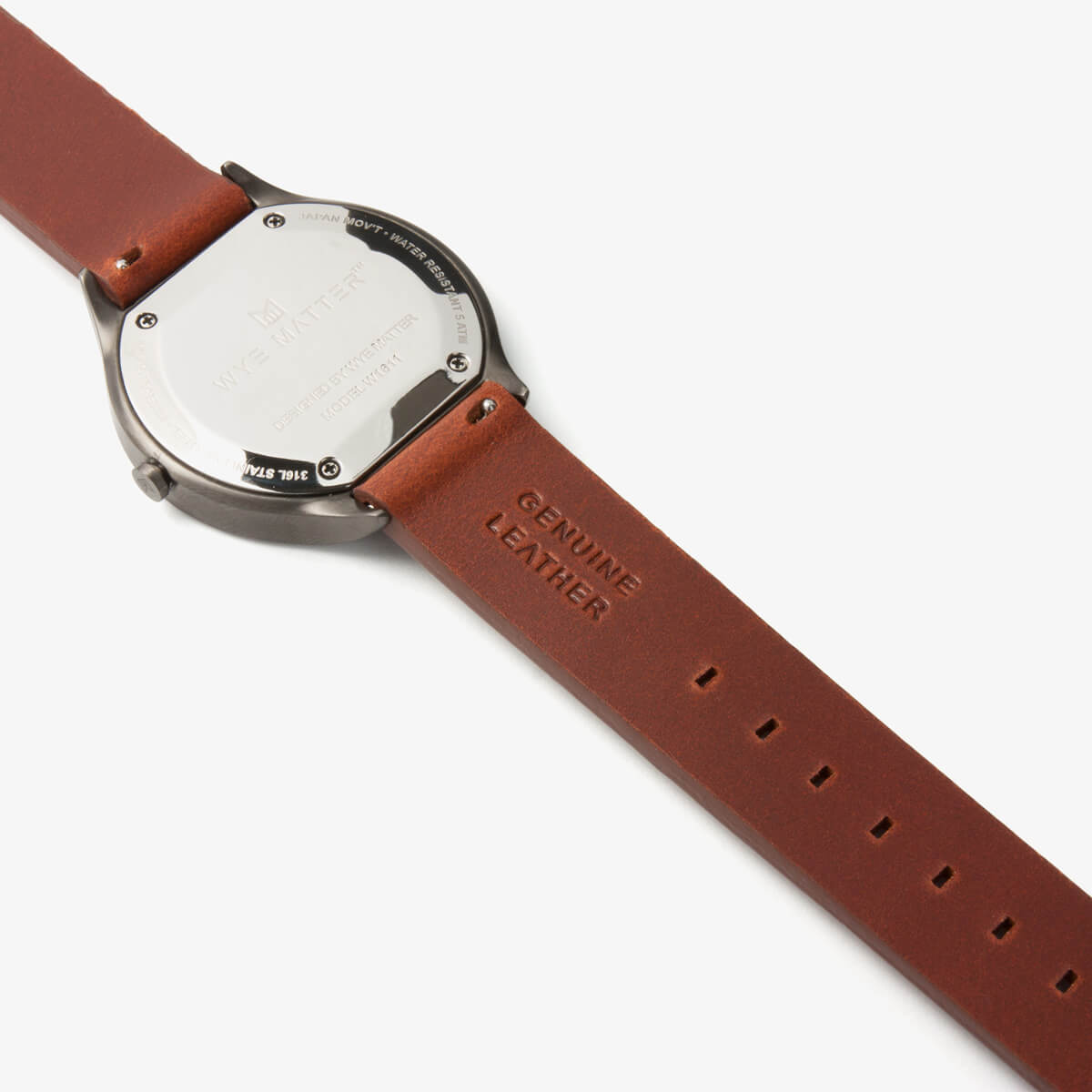 Quick release brown leather strap black wye matter