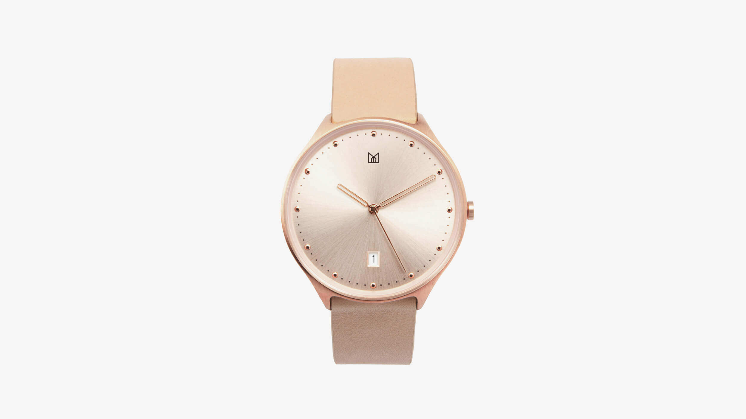 minimal watch neut - rose gold front
