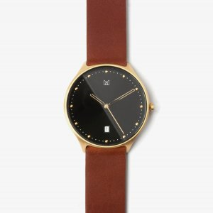 quick release brown leather strap gold buckle-watch