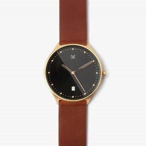 สายนาฬิกา หนังแท้ น้ำตาล อะไหล่ทอง-นาฬิกา