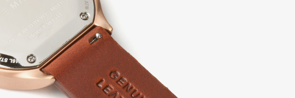 quick release brown leather strap rose gold buckle-intechangable strap