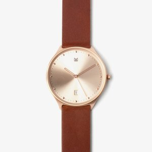 quick release brown leather strap rose gold buckle-watch