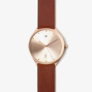 สายนาฬิกา หนังแท้ น้ำตาล อะไหล่ทองกุหลาบ-นาฬิกา